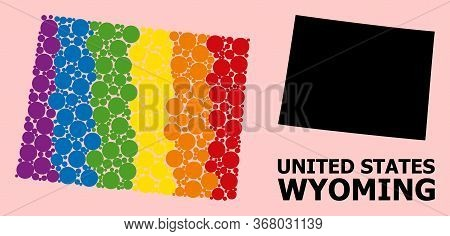 Spectrum Vibrant Mosaic Vector Map Of Wyoming State For Lgbt, And Black Version. Geographic Concept