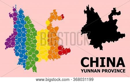 Rainbow Colored Mosaic Vector Map Of Yunnan Province For Lgbt, And Black Version. Geographic Mosaic