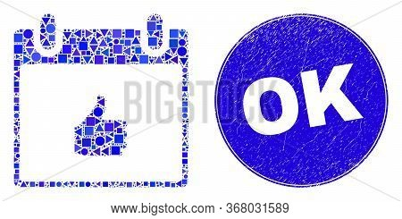 Geometric Thumb Up Calendar Page Mosaic Pictogram And Ok Stamp. Blue Vector Rounded Grunge Seal Stam