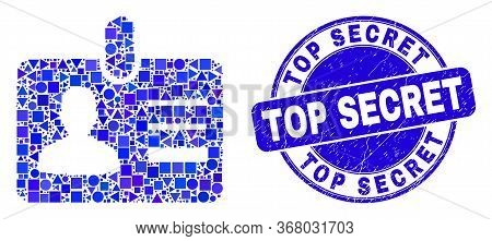 Geometric User Id Badge Mosaic Icon And Top Secret Stamp. Blue Vector Round Textured Seal Stamp With