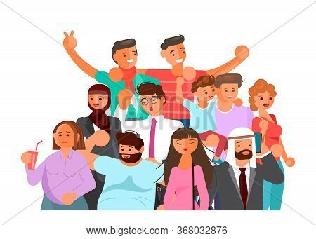 Crowd Of People Banner, Age And Ethnic Diversity. Flat Art Vector Illustration