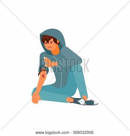 Drug Addicted Man Isolated On White. Sick Junkie Character Sitting On The Floor And Holding A Syring