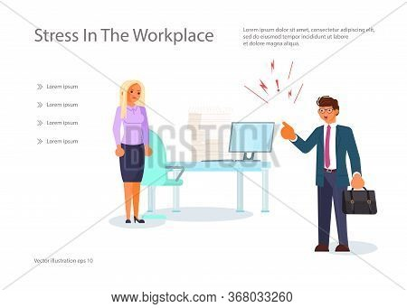 Landing Web Page Template With Angry Boss And Frightened Employee. Female Character Experiences Stre