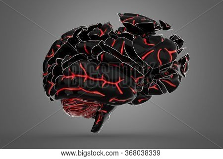 Shattered brain. Conceptual 3d illustration helpful for in visualizing brain diseases.
