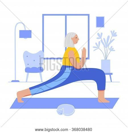 Happy Female Senior Performs Yoga Exercise At Home. Old Or Mature Woman Cartoon Isolated Character.