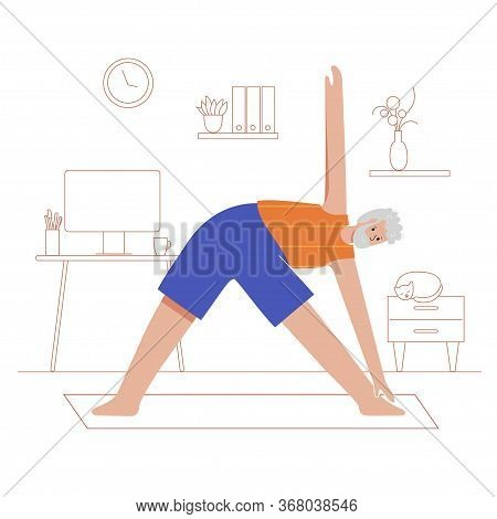 Happy Male Senior Performs Yoga Exercise At Home. Old Or Mature Man Cartoon Isolated Character. Flat