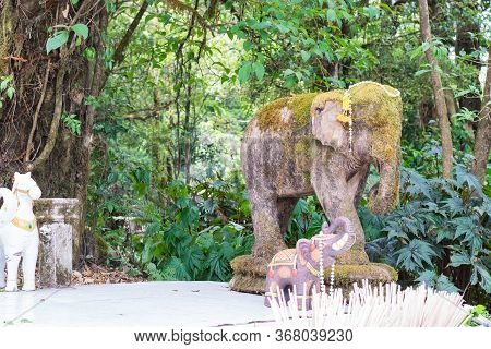 Elephants In A Temple In Doi Inthanon Chiang Mai, Thailand