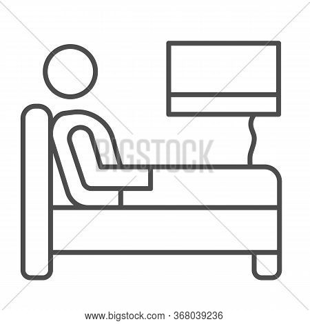 Stay In Bed With Flu Thin Line Icon, Home Treatment In Covid-19 Concept, Sick Man Lying In Bed Sign