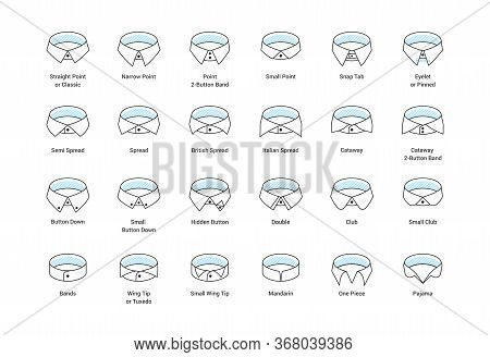 Vector Line Icon Set Of Mens Shirt Collar Styles, Editable Strokes. Illustration For Style Guide Of