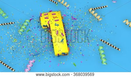 Number 1 For Birthday, Anniversary Or Promotion, In Thick Yellow Letters On A Blue Background Decora