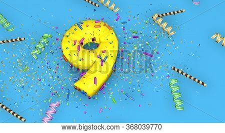 Number 9 For Birthday, Anniversary Or Promotion, In Thick Yellow Letters On A Blue Background Decora
