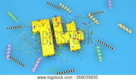 Number 14 For Birthday, Anniversary Or Promotion, In Thick Yellow Letters On A Blue Background Decor