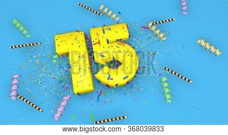 Number 15 For Birthday, Anniversary Or Promotion, In Thick Yellow Letters On A Blue Background Decor