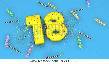 Number 18 For Birthday, Anniversary Or Promotion, In Thick Yellow Letters On A Blue Background Decor