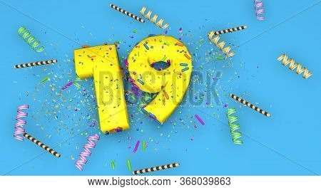Number 19 For Birthday, Anniversary Or Promotion, In Thick Yellow Letters On A Blue Background Decor