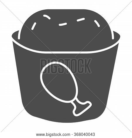 Meat Muffin Solid Icon, Bakery Concept, Cupcake With Chicken Sign On White Background, Fast Food Muf