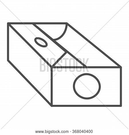 Sharpener Thin Line Icon, Stationery Concept, Device For Sharpening Pencil Sign On White Background,