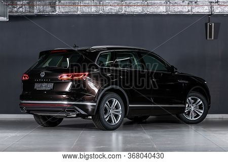 Novosibirsk/ Russia - March  15, 2020   Black Volkswagen Toureg ,back View.  Modern  Crossover  Made