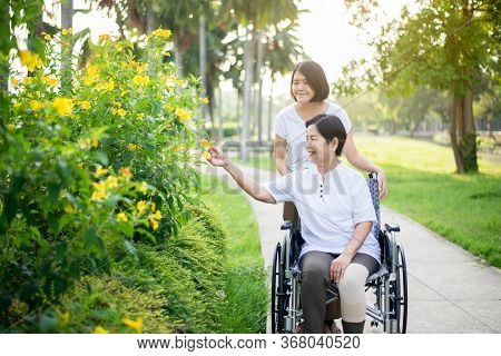 Senior Care Insurance Concept,caregiver Take Care To Elderly Asian Woman Sitting On Wheelchair At Ou