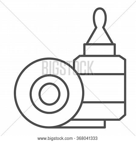 Scotch Tape And Glue Thin Line Icon, Stationery Concept, Gluing Tools Sign On White Background, Adhe