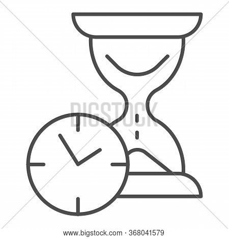 Hourglass With Clock Thin Line Icon, Time Passing Concept, Urgency And Running Out Of Time Sign On W