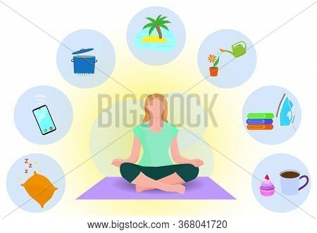 Young Girl Meditating At Home During Quarantine Time. Woman Is Practicing Yoga And Thinking About Ti