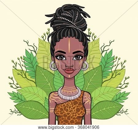 Animation Portrait Of The Beautiful Black Woman Wreath Of Tropical Leaves. Amazon, Warrior, Princess