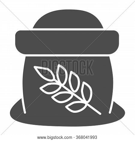 Flour In Open Bag Solid Icon, Bakery Concept, Bag Of Grain Sign On White Background, Sack Of Flour I