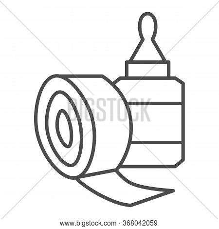 Sticky Tape And Glue Bottle Thin Line Icon, Stationery Concept, Gluing Tools Sign On White Backgroun