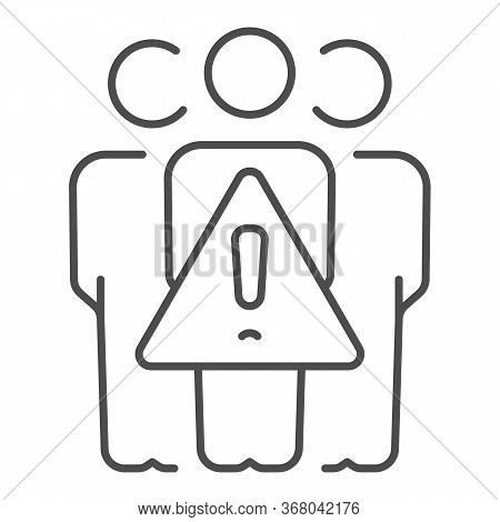 Avoid Crowds Thin Line Icon, Coronavirus Prevention Concept, Keep Social Distance Sign On White Back