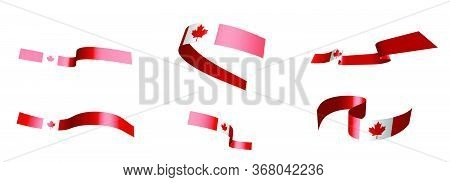 Set Of Holiday Ribbons. Canadian Flag Waving In The Wind. Separation Into Lower And Upper Layers. De