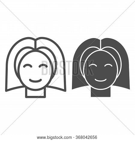 Female Teenager Head Line And Solid Icon, Childhood Concept, Young Girl With Straight Hair Sign On W