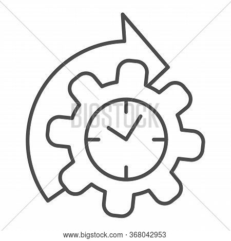 Watches And Arrow With Gear Thin Line Icon, Time Managment Concept, Cogwheel With Clock Reprocessing