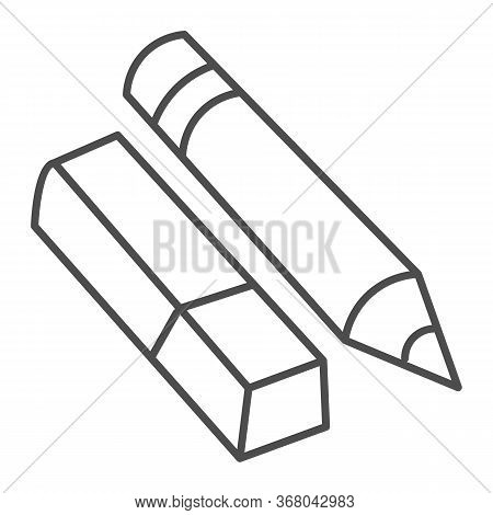 Eraser And Pencil Thin Line Icon, Stationery Concept, School Drawing Tools Sign On White Background,
