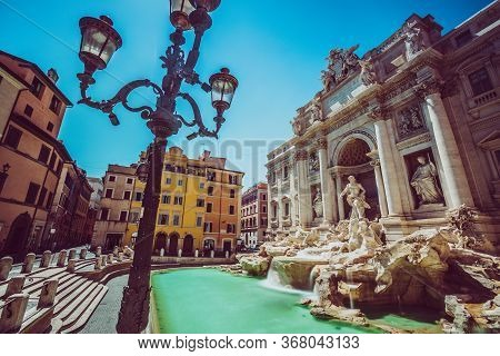 Trevi Fountain In Rome With Nobody. Monument In One Of The Many Landmarks In The Capital Of Italy. N