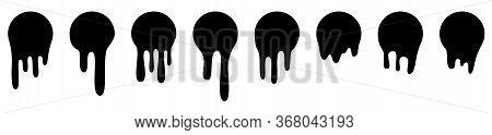 Melt Drip Stickers Or Circle Labels. Vector Liquid Drops Icons For Graffiti Blob Stickers. Black Liq