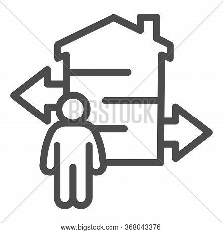 Man With Arrows And Building Line Icon, Smart Home Concept, Technology Vector Sign On White Backgrou