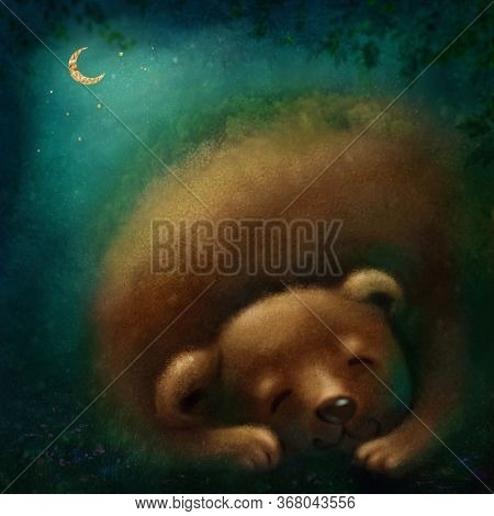 Cute bear sleeping in the forest