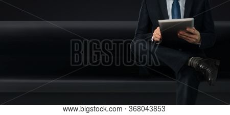 Hands Holding A Tablet Touch Computer Gadget With  Screen