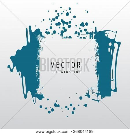 Vector Splats Splashes And Blobs Of Blue Ink Paint In Different Shapes Drips