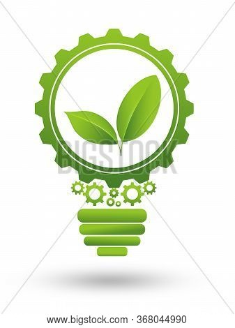 Green Business Or Industry Icon. Green Leaves Working In Cogwheel And Light Blub. Illustration