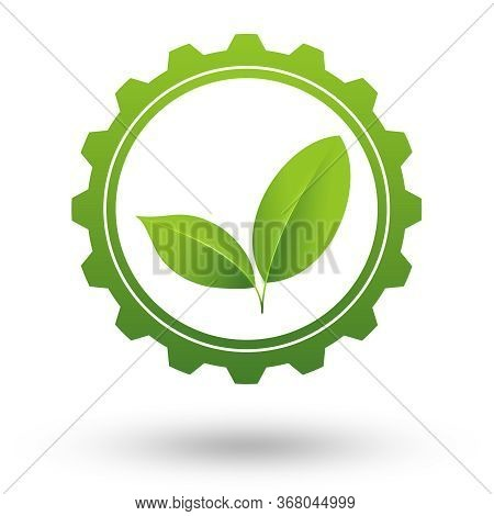 Green Business Or Industry Icon. Green Leaves Working In Cogwheel. Illustration