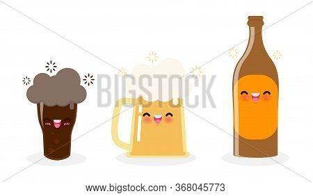 Funny Mug Of Beer And Beer Bottle, Dark Beer Cute Cartoon Characters Happy International Beer Day Or