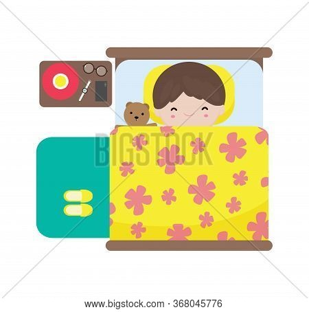 Cute Little Boy Kids Sleeping In Bed, Happy Children Sleep In Bed, Good Night, Daily Routine Concept