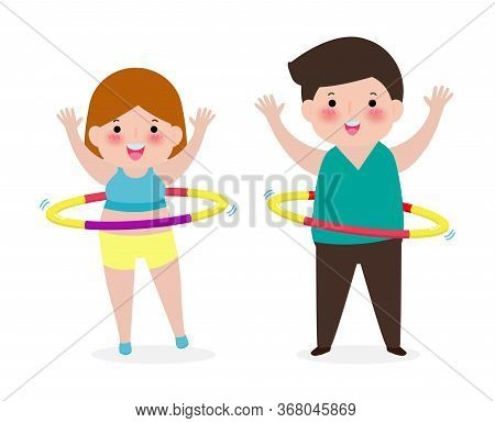 Cute Cartoon People Couple Doing Hula Hoop, Man And Woman Exercises With Hula Hoop, Person Playing H