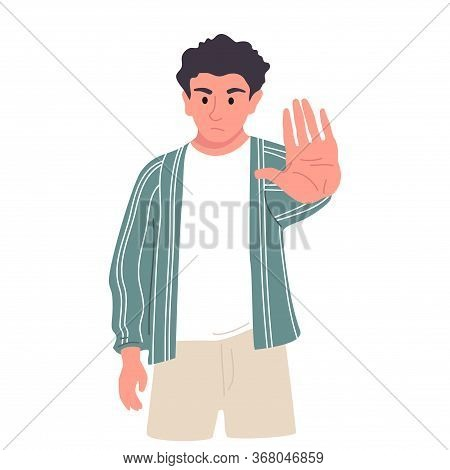 Negative Gestures Vector Illustrations Set. Disagree And Stop Consept. Hand Language Refuse.