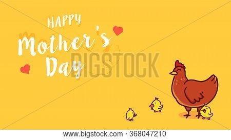 Chicken Mama Embracing Baby Chick In Eggs. Happy Mother's Day Cartoon Vector Illustration