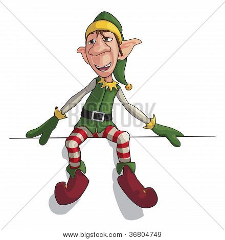 Christmas Elf Sitting On Edge
