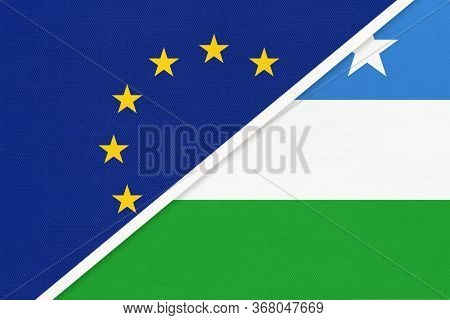 European Union Or Eu And Puntland State Of Somalia National Flag From Textile. Symbol Of The Council