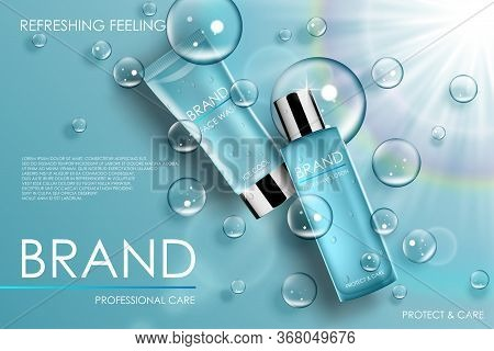 Moisture Cosmetic Tubes Banner Ads. Skin Care Cosmetic Product Bottles With Soap Bubbles. Lotion, Pe